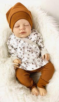 Babyset Baumwollzweige Wickeljacke Leggings Babymütze