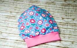 Beanie Mütze Kindermütze Blumen blau rosa