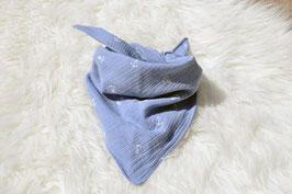 Tuch Halstuch Musselin hellblau weiße Anker
