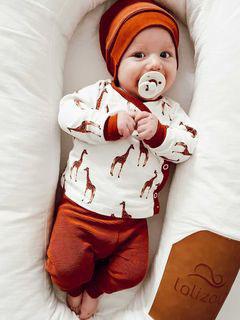 Babyset Wickeloberteil Leggings Babymütze