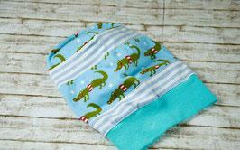 Beanie Mütze blau Krokodile