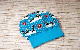 Beanie Bündchenbeanie Mütze Kindermütze blau KU 50/52