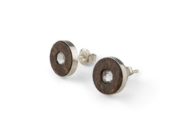 Lignum ear studs with Swarovski crystal