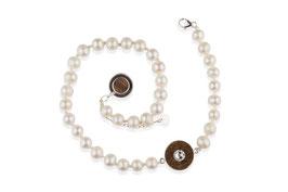 Lignum double freshwater pearl bracelet with Swarovski crystal