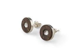 Lignum ear studs with Swarovski crystal