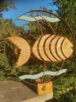 Fresque décor poisson bois/fer