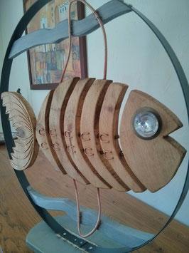 Fresque décor poisson stylisé bois et métal