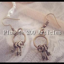 Boucles d'oreilles trousseau de clefs
