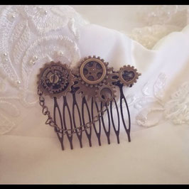 Barrette Peigne Engrenage Steampunk