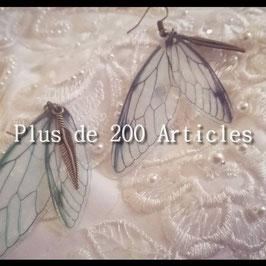Boucles d'oreilles Bohème Aile de Papillon et Plume