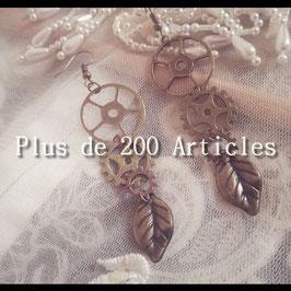 Boucles d'oreilles Engrenage Steampunk et Nature Feuille