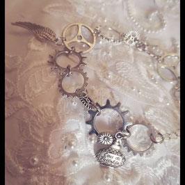 Bracelet Breloque et Engrenage Argent