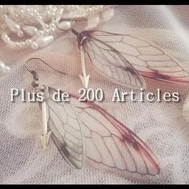 Boucles d'oreilles Bohème Flèche argenté et Aile de Papillon