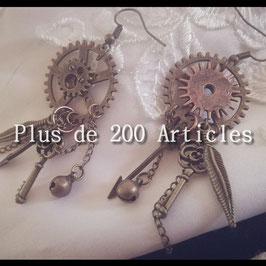 Boucles d'oreilles Steampunk Engrenage et breloques