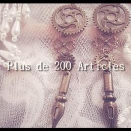 Boucles d'oreilles Engrenage et Plume de stylo