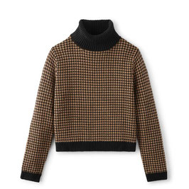 BRIXTON WOMEN JONI SWEATER - KHAKI HOUNDSTOOTH
