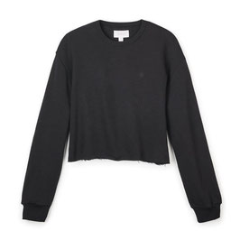 BRIXTON WOMEN VINTAGE CROP CREW - BLACK