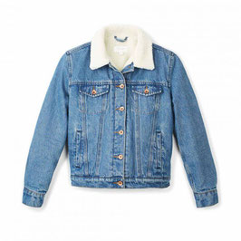 BRIXTON WOMEN  BROADWAY SHERPA DENIM JKT- FADED INDIGO
