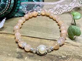 Armband Sonnenstein mit Perlen-Mittelteil aus 925er Silber