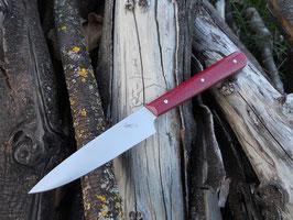 Couteau d'office – Micarta toile de jute rouge (3 rivets molletonnés – finition arrondie)
