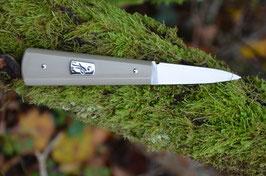 Couteau à huîtres - micarta gris clair