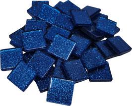 Soft Glas Glitter blau 20x20 mm