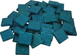 Soft Glas Glitter türkis 20x20 mm