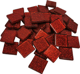 Soft Glas Glitter rot 20x20 mm