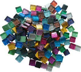 Soft Glas Glitter bunt Mix 10x10 mm