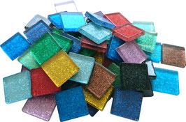 Soft Glas Glitter bunt Mix 20x20 mm