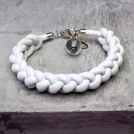 Geknotetes Nappaleder-Armband, Bergkristall, Silber