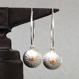 Silber-Creolen mit Citrin-Einhängern SUNDIAL
