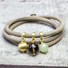 Velourslederarmband, Rauchquarz, Beryll, vergoldetes Silber