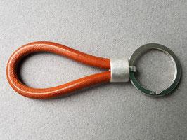 Schlüsselanhänger, Sterling Silber, Kernleder hellbraun
