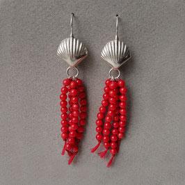 Ohrhänger mit Korallen-Quasten, Sterling Silber