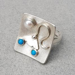Silberring im Art Déco Stil mit Perle und Türkis