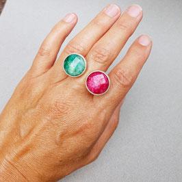 Doppelring mit Smaragd und Rubin, Silber