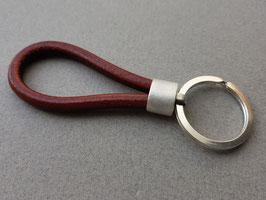 Schlüsselanhänger, Sterling Silber, Kernleder cognac