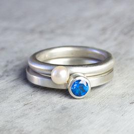 Ring-Set aus Silber PERLE und TOPAS
