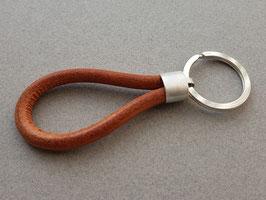 Schlüsselanhänger, Sterling Silber, Kernleder natur