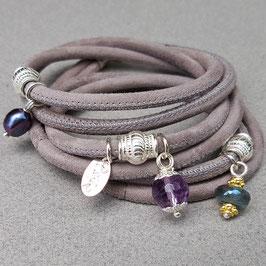 Velourslederarmband mit Amethyst, Silber