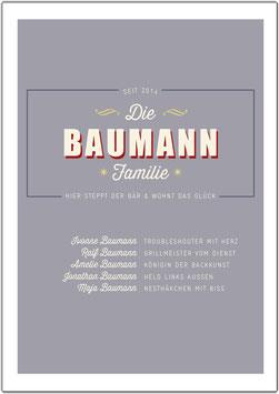 """Wandbild """"Familie Baumann"""""""