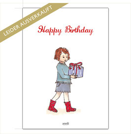 Happy Birthday - Mädchen mit Geschenk