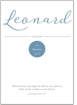 """Wandbild """"Leonard"""" zur Taufe"""