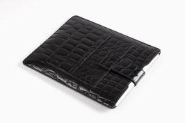 iPad Etui Krokoprint schwarz