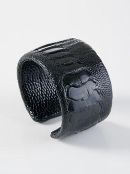 Straussenleder Armband schwarz