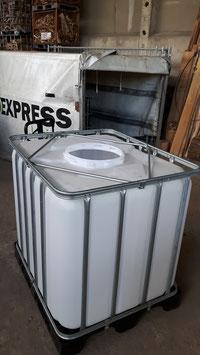IBC-Behälter GEBRAUCHT transparent auf robuster Stahl oder Kunststoffpalette 1000 Liter    Einfüllöffnung ca 400mm