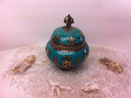 Tibetisches Kloster Räuchergefäß mit Edelsteinen verziert