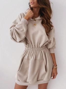 Long Dress Dina Beige Hoodie