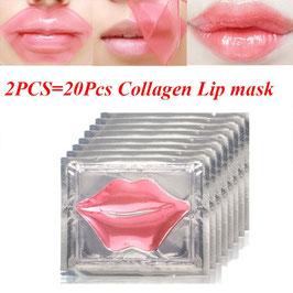 2 STÜCK (20 Stück) Rosa Kollagen Pflege Feuchtigkeitsspendende Lippe Kristall Lippenmaske Feuchtigkeitsspendende Reparatur Lippe